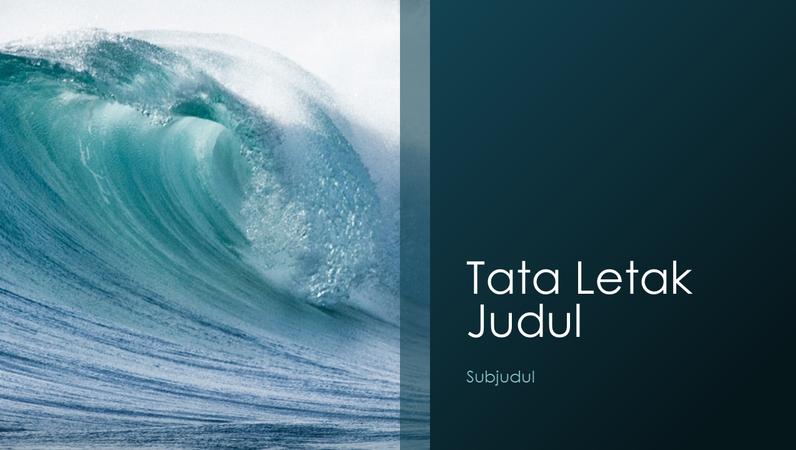 Presentasi bertema alam gelombang laut (layar lebar)