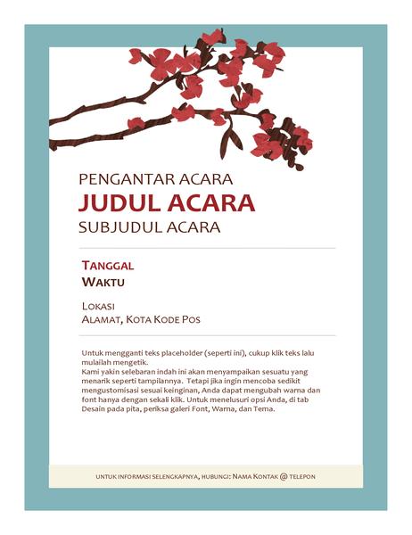 Pamflet kegiatan musim semi (dengan bunga bermekaran di dahan)