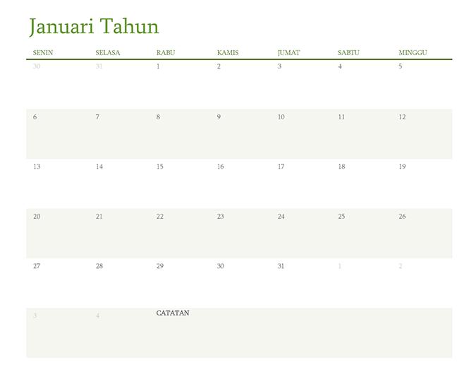 Kalender semua tahun (1 bulan per tab)