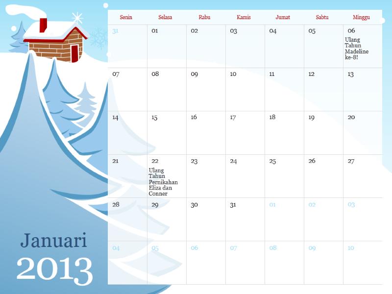 Kalender musiman berilustrasi tahun 2013, Sen-Min