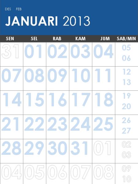Kalender 2013 - 2014, multiwarna (M-Sun)