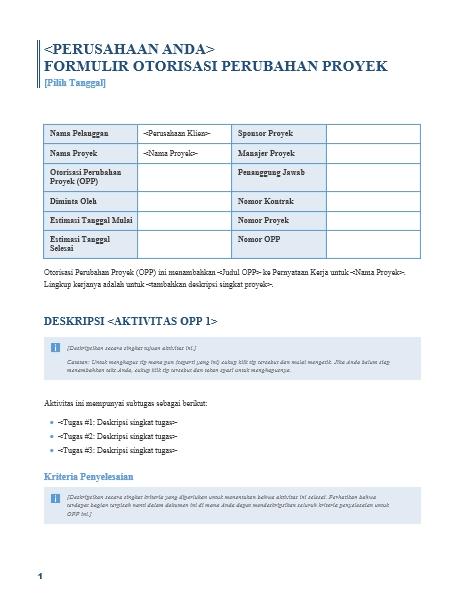 Formulir Otorisasi Perubahan Proyek