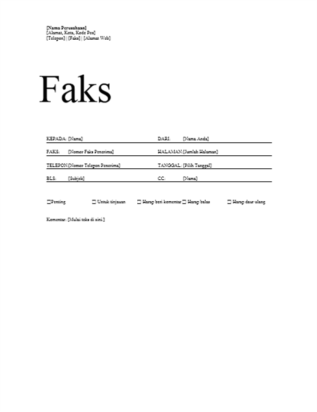 Lembar Sampul Faks
