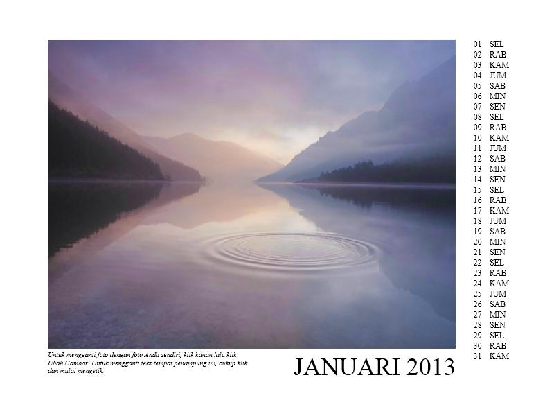Kalender foto 12 bulan tahun 2013