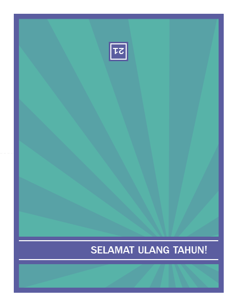 Kartu ucapan selamat ulang tahun dengan tonggak pencapaian, sinar biru dengan latar belakang hijau