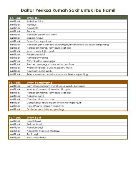 Daftar periksa rumah sakit untuk ibu hamil