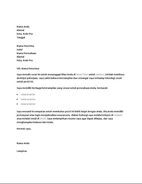Sampel surat lamaran untuk menanggapi iklan posisi teknis