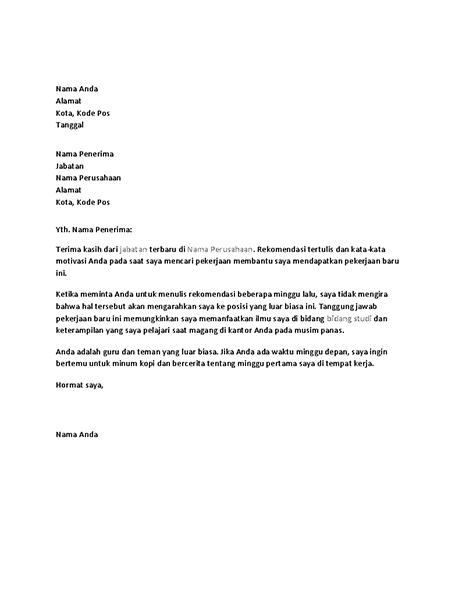 Surat terima kasih untuk referensi pekerjaan yang berhasil dari mantan bos