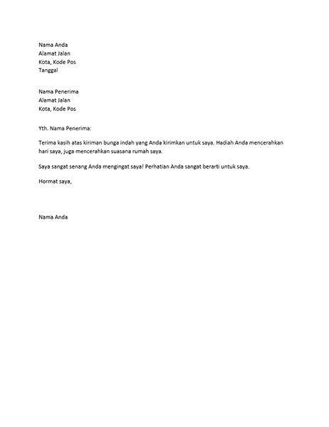 Surat ucapan terima kasih untuk hadiah pribadi