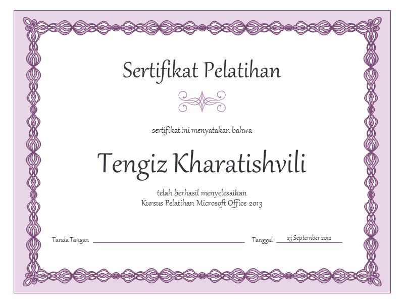Sertifikat Pelatihan (desain bingkai ungu)