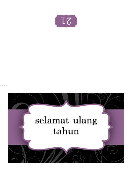 Kartu ulang tahun (desain pita ungu)