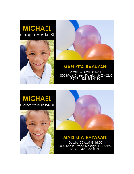 Undangan pesta (kuning dengan latar belakang hitam, desain 2 foto)