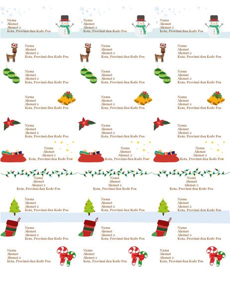 Label tanda hadiah (Desain Semangat Natal, 30 per halaman, dapat dicetak pada kertas Avery 5160)