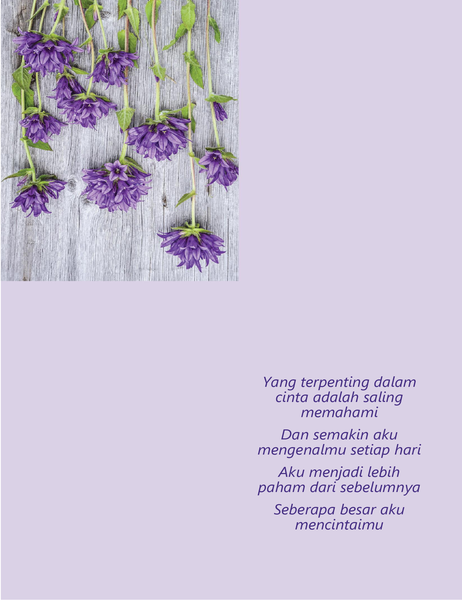 Kartu Hari Valentine dengan puisi (empat lipatan)