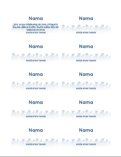 Kartu nama wisudawan (10 per halaman)