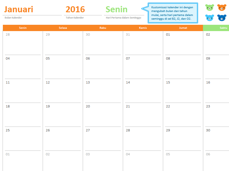 Kalender tahunan tahun bebas (12 halaman, desain Beruang Pelangi)