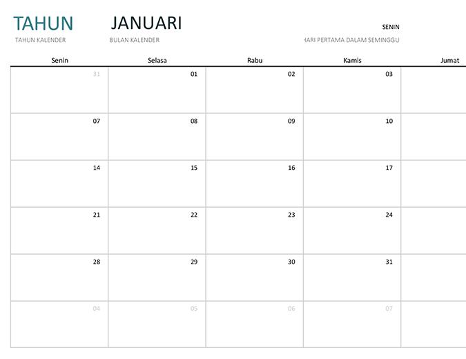 Kalender satu bulan semua tahun