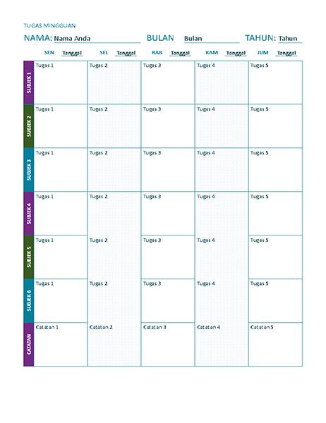 Lembar tugas mingguan (warna)