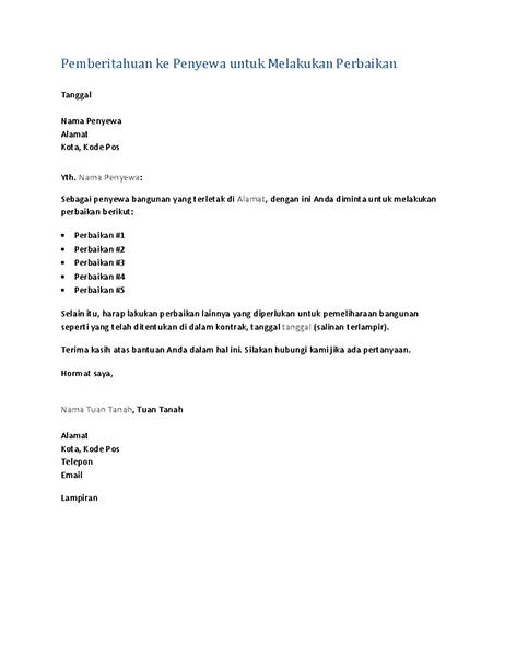 Pemberitahuan kepada penyewa untuk melakukan perbaikan (surat formulir)