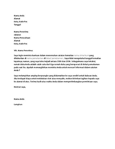 Surat yang meminta catatan silsilah dari rumah duka