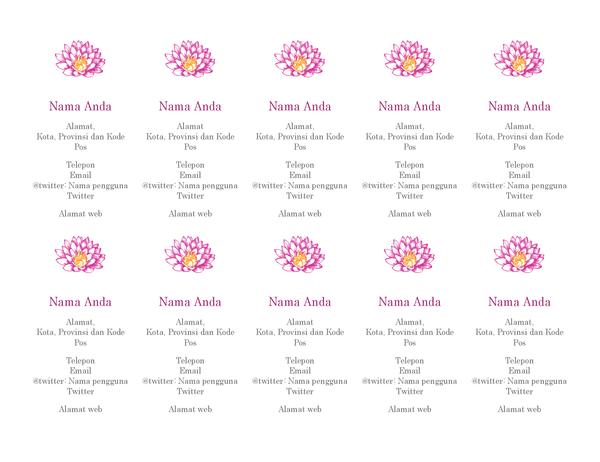 Kartu nama pribadi bertema bunga (vertikal)