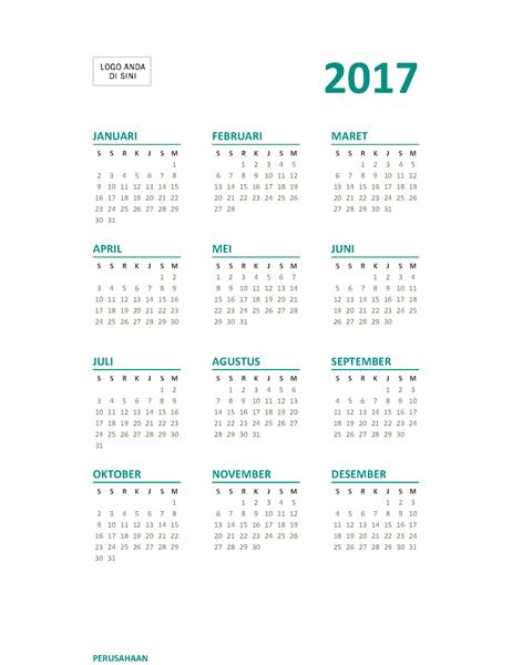 Kalender setahun ringkas 2017 (Sen-Min)