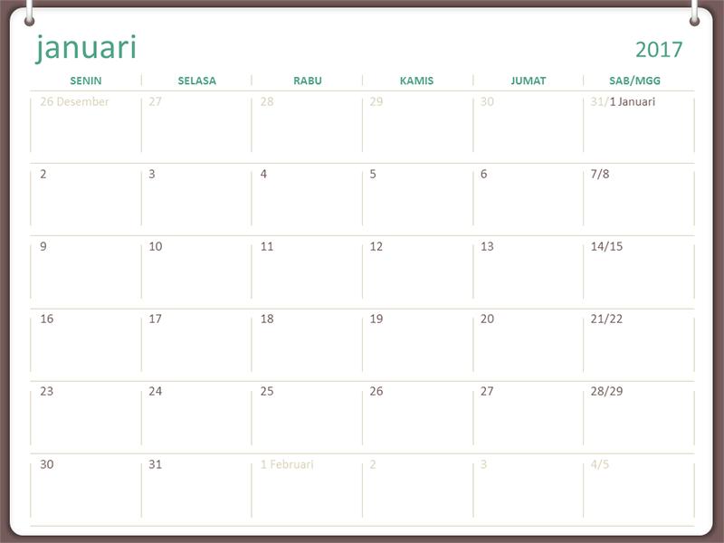 Kalender 2017 (Sen-Min, desain dua-cincin)