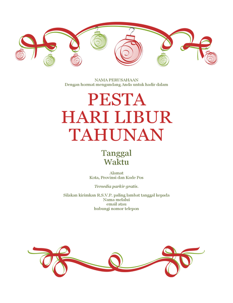 Selebaran pesta natal dengan hiasan dan pita berwarna merah (Desain formal)