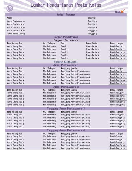 Lembar pendaftaran pesta kelas