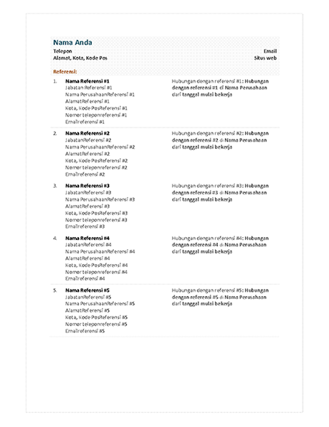 Lembar Referensi resume fungsional