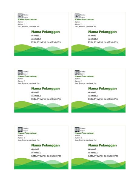 Label pengiriman (desain Gelombang Hijau, 6 per halaman)