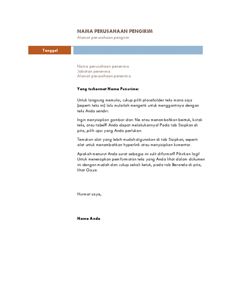 Surat bisnis (tema Median)