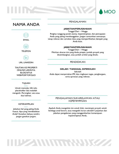 Resume yang kreatif, didesain oleh MOO