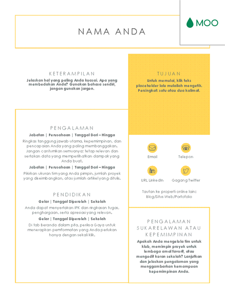 Resume yang singkat dan jelas, didesain oleh MOO