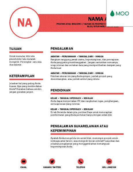 Resume yang rapi, didesain oleh MOO