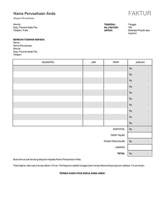 Faktur layanan dengan perhitungan pajak