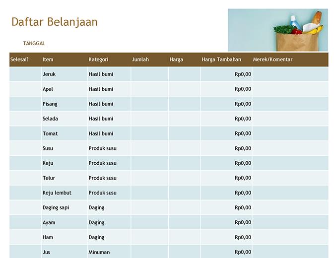 Daftar Belanjaan