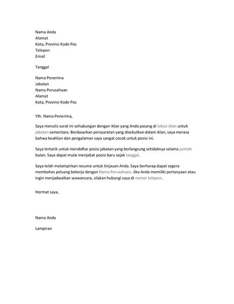 Surat lamaran resume untuk posisi sementara
