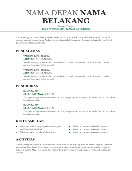 Resume Kronologis (Desain modern)