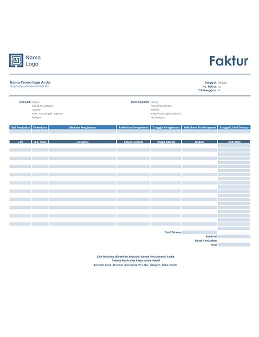 Faktur penjualan (desain Biru Sederhana)