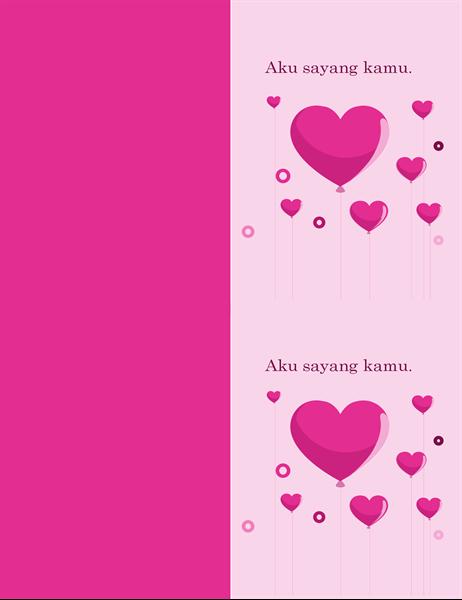 Kartu Valentine balon berbentuk hati