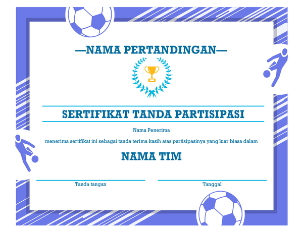 Sertifikat penghargaan empat cabang olahraga