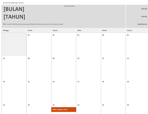 Kalender pekerjaan rumah