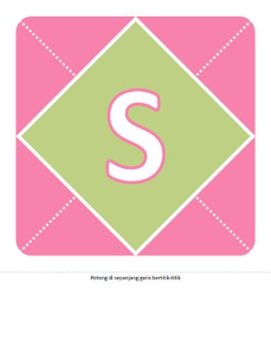 Spanduk ucapan Selamat Datang Bayi Perempuan (merah muda, ungu, hijau)