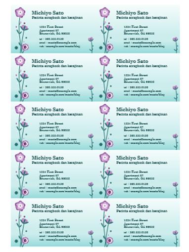 Kartu Nama (ilustrasi bunga, 10 per halaman)