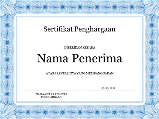 Sertifikat penghargaan (biru)