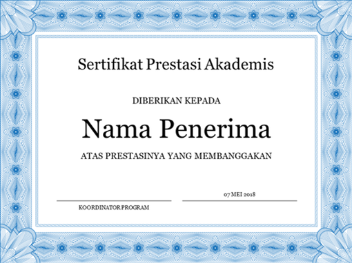 Sertifikat prestasi akademis (batas formal berwarna biru)