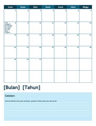 Kalender akademis satu bulan (dimulai Senin)
