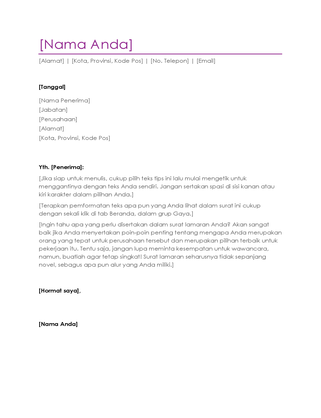 Surat lamaran kerja resume (ungu)