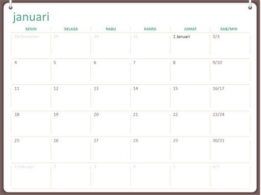 Kalender 2018 (Sen-Min, desain jliid dua cincin)